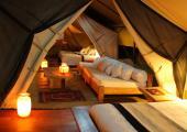 Tent interior safari Kenya amenities