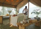 Massage center into a tent