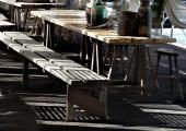 shaded outdoor terrace near beach mykonos hotel
