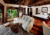 exotically furnished wooden interior luxury villa