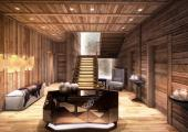 chalet rental entrance wooden decorated interior