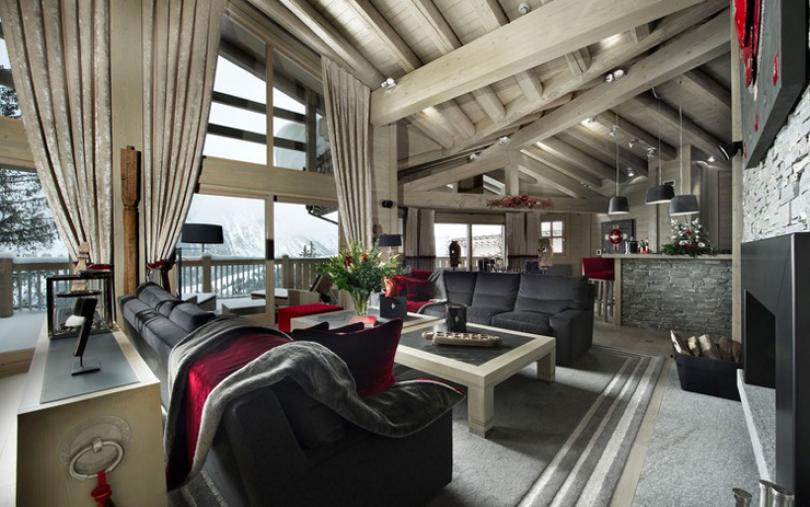 Rustic cozy luxury interior chalet courchevel