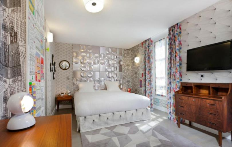 creative indoor atmosphere in hotel bedroom in Paris