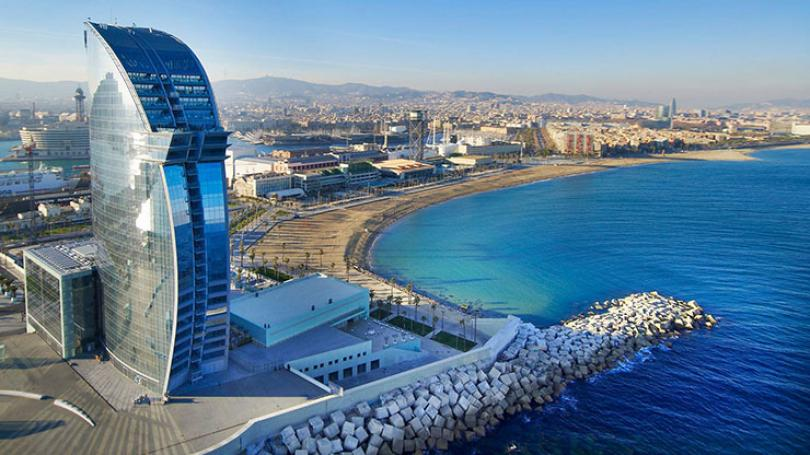 w hotel barcelona sail like structure at the end of beach
