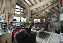 Rustic cozy luxury interior chalet courchevel