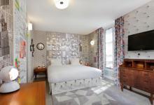 creative indoor atmosphere in hotel bedroom in Paris