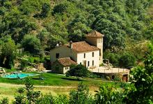 green spain countryside stone built villa