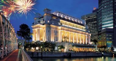 luxury fullerton hotel singapore facade